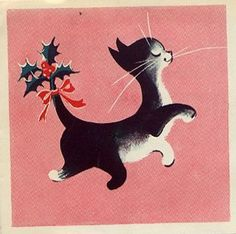 vintage retro Christmas black and white cat, pink background, MCM Vintage Christmas Images, Christmas Past, Retro Christmas, Vintage Holiday, Christmas Pictures, Winter Christmas, Christmas Crafts, Christmas Kitty, Illustration Noel
