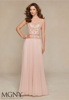 Evening Gowns and Mother of the Bride Dresses by MGNY Chiffon with Beaded Embroidery Removable Belt.Matching Stole.Colors: Blush, Amethyst, Peacock, Black.