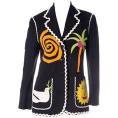 Vintage Moschino Applique Wreath Blazer Jacket   From a collection of rare vintage jackets at https://www.1stdibs.com/fashion/clothing/jackets/
