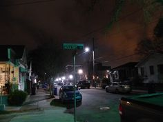Another view of the street in front of my brother's place with the ominous glow of the city center off to the right going toward the Battery via King Street.