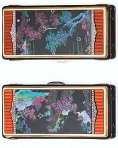A SPLENDID ART DECO 'CHINESE LANDSCAPE' VANITY CASE, BY CARTIER
