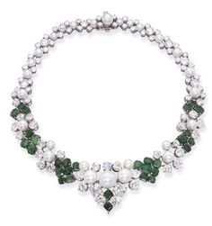 AN ELEGANT EMERALD, PEARL AND DIAMOND NECKLACE   Set with button pearls and circular-cut diamonds to the rectangular-cut emerald panels, circa 1960, 39.0 cm long, with French assay marks for platinum and gold, maker's mark MA flanking a question mark for Maurice Antoine: