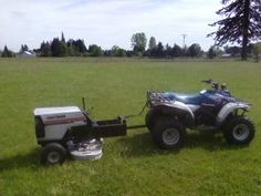 A mower to tow behind your ATV – homegrownengineer Tractor Mower, Lawn Mower, Tow Truck, Big Trucks, Accessoires Quad, Atv Attachments, Atv Trailers, Tractor Implements, Atv Accessories