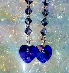 Swarovski heliotrope crystal hearts.