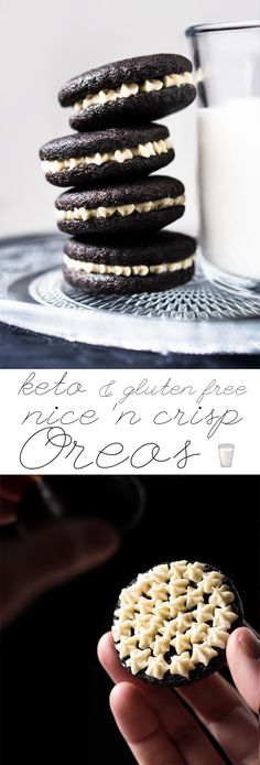 Free, Gluten Free & Keto Oreo Cookies Properly crisp & just net carbs a pop!Grain Free, Gluten Free & Keto Oreo Cookies Properly crisp & just net carbs a pop! Low Carb Sweets, Low Carb Desserts, Dessert Recipes, Cookie Recipes, Keto Cookies, Almond Cookies, Low Carb Torte, Biscuits Keto, Galletas Keto