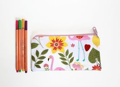 FLOWERS and FLAMINGO pencil pouch zip bag zippered by Sunchildsews Zipper Pencil Case, Pencil Pouch, Pencil Cases, Birthday Gifts For Teens, Teen Birthday, Flamingo Fabric, Duct Tape Flowers, Duck Tape Crafts, Rubber Band Bracelet