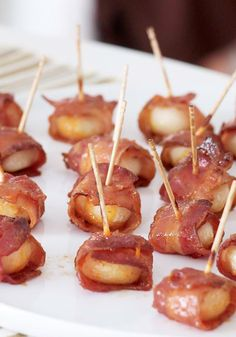 Bacon Water Chestnuts – Caramelized bacon wrapped around crunchy water chestnuts is perhaps the easiest way to get a crowd to agree on something. Create harmony with these crispy party eats.