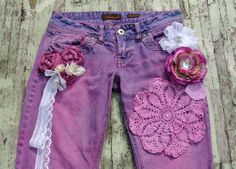 Embellished jeans, gypsy cowgirl, dyed denim, country chic, cottage, womens clothing, romantic dip dyed