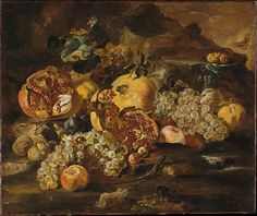 Abraham Brueghel (Flemish, 1631–1697). Pomegranates and Other Fruit in a Landscape. Purchase, 1871 (71.118) | This striking still life has been ascribed, surprisingly to Velázquez, Giuseppe Ruoppoli (a leading exponent of Neopolitan still life painting), and Giovanni Paolo Spadino. It is currently attributed to the Fleming Abraham Brueghel, who worked in Rome and Naples.