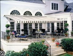 retractable awning example of large awning, non european House Awnings, Deck Awnings, Outdoor Awnings, Canopy Outdoor, Outdoor Rooms, Outdoor Gardens, Outdoor Decor, Wood Patio Furniture, Outdoor Living Furniture