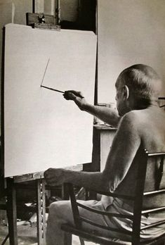 """You gotta start somewhere….  This is the first photo ever taken of Picasso  painting in his own studio.  """"La Californie""""  Cannes, France  1956"""