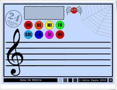 """""""24 arañas"""" (Iniciación a las notas musicales en el pentagrama) Spanish Classroom, Music Classroom, Musicals, Symbols, Words, Fictional Characters, Piano, Primary Music, Treble Clef"""
