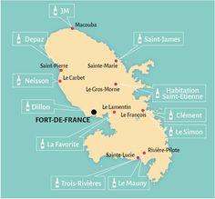 Carte des distilleries en Martinique South Pacific, Pacific Ocean, Guam Beaches, Gros Morne, New Zealand North, Sainte Lucie, Oceans Of The World, Sea Level, Souvenir