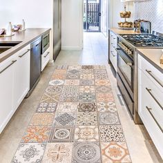 With warm beige, cream and light orange hues, this mat will add a pop of color to floors. This rug's global design is perfect for creating a boho chic look. Persian Tiles Vinyl Floor Runner contains 1 piece on 1 sheet that measures 19.7 x 47.2 inches.