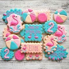 flamingo pool party cookies