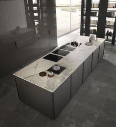 FRAME - modern kitchens, design kitchen | Modulnova Cucine Barn Kitchen, Kitchen Island, One Level House Plans, Central Island, Cupboard, Modern Kitchens, Kitchen Design, Frame, Home Decor