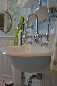 When We First Renovated The Children S Bathroom We Installed A Trough Sink With Two Faucets