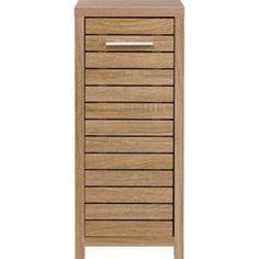 Skydale Single Door Floor Cabinet Slatted Wood Grain
