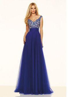 Blue V-neck Chiffon Prom Dresses 2016