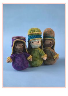 These three kings are part of the new Woolytoons Nativity scene! The Donkey, The Shepherd, Photo Tutorial, Pet Store, More Pictures, Sheep, Nativity, Crochet Patterns, Pets
