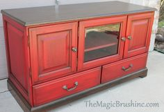 repainted buffet furniture in red with staining by themagicbrushinc.com