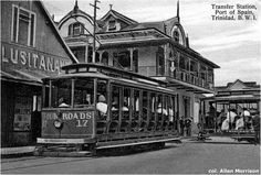 The four tram routes – Belmont, Four Roads, St. Ann's (usually written St. Anns) – all met at the Transfer Station at the corner of Park and Frederick Streets Port Of Spain Trinidad, Trinidad Caribbean, Trinidad Und Tobago, Soca Music, Park Hotel, Small Island, Island Life, Old Photos, City