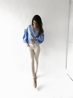 Spring is all about baby blue and baby pink, ankle crop jeans and Ted Baker high heels.