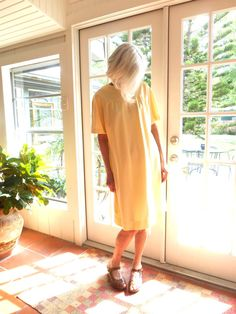 Vintage mod shift dress yellow with white dots by BopandAwe, $34.00 #vintage #vintagelove #style #fashion #sixties #mod #a-line
