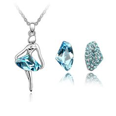 Xingzou Sweet Jewelry Set Made with Swarovski Element Women Pendant Necklace Stud Earrings Sets Crystal from Swarovski