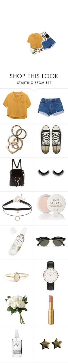 """""""5/26/17"""" by cloe-marie ❤ liked on Polyvore featuring Levi's, Rachel Leigh, Converse, Chloé, Caffé, Fresh, Herbivore, Ray-Ban, Daniel Wellington and National Tree Company"""