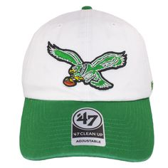 73b430377f2 Philadelphia Eagles Throwback Logo White on Kelly Green Dad Hat