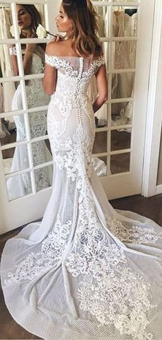 65b3fe040e Off Shoulder Gorgeous Lace Mermaid Train Wedding Dresses
