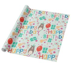 Cute and Colorful Party Bears and Happy Birthday Wrapping Paper.  #wrappingpaper