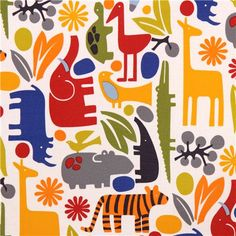 2-D Zoo New Primary Alexander Henry animal laminate fabric 5