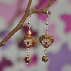 Peach Bronze Heart Cloisonne Earrings
