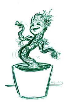 dancing groot sketch by m sciuto nerdy pinterest sketches dancing and marvel. Black Bedroom Furniture Sets. Home Design Ideas