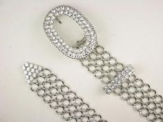 Ladies Oval Clear Rhinestone Belt Buckle Metal Chain Belt