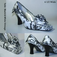 Upcycled Black & White Toile Victorian, Retro, Goth , Prom, Wedding, Pumps Size 6.5 Wide Shoes
