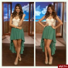 nude and green hi low skirt