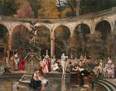 francois flameng - Court Ladies bathing in the 18th century 1888