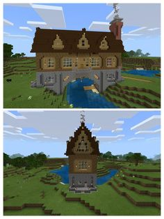 A house over a river, my first build on the Switch. : Minecraft A house over a river, my first build on the Switch. Casa Medieval Minecraft, Art Minecraft, Minecraft Building Guide, Minecraft Structures, Minecraft Plans, Amazing Minecraft, Minecraft House Designs, Minecraft Tutorial, Minecraft Blueprints