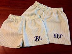 Seersucker with three initial monogram Shorts for by nolafionnah, $18.00