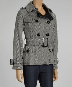Cozy-chic is accomplished in this posh coat! With a wool-blend construction, flattering belt and herringbone pattern, it will be a strut-worthy layer.
