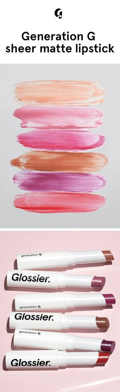 Generation G: Zip, Leo, Crush, and Jam pop with color while Cake and Like have a lighter pigment load and give a subtle enhancement to your natural lip tone