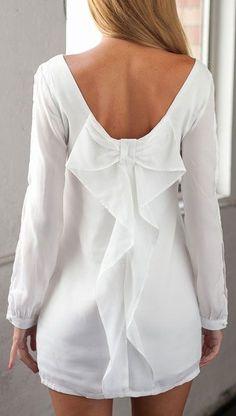 Graceful Scoop Neck Long Sleeve Back Bow Chiffon Dress For Women Casual Dresses, Short Dresses, Fashion Dresses, Love Fashion, Girl Fashion, Womens Fashion, Chiffon Dress, Dress Skirt, Bow Back Dresses