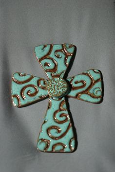 Handcrafted pottery Cross or Crucifix wall by Potterybydaina, $15.00