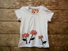 Girls Pink Poppies Shirt  Organic Cotton White Short by griffencat, $18.00
