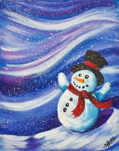 Snowman Acrylic painting tutorial in real time and step by step. This is was enough for every level of painting Experience. I will even show you how to paint snow flurries Traceable and More info: https://theartsherpa.com/tas171127.01