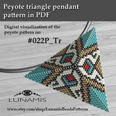 Peyote triangle patterns, pattern for triangle pendant, peyote patterns, beading, peyote stitch, digital file, pdf pattern #022P_Tr