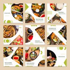 Collection of card template with food concept PSD file Food Graphic Design, Food Menu Design, Food Poster Design, Web Design, Instagram Square, Instagram Design, Free Instagram, Instagram Grid, Social Media Banner